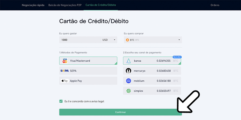 Depositando na KuCoin e as taxas - cartões de crédito