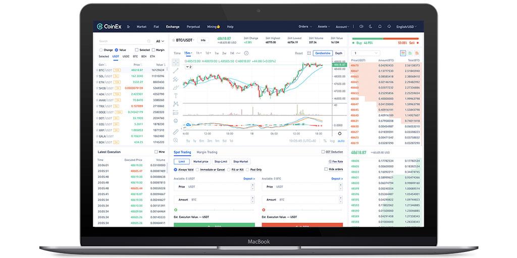 Trading de margem de criptomoedas da CoinEx